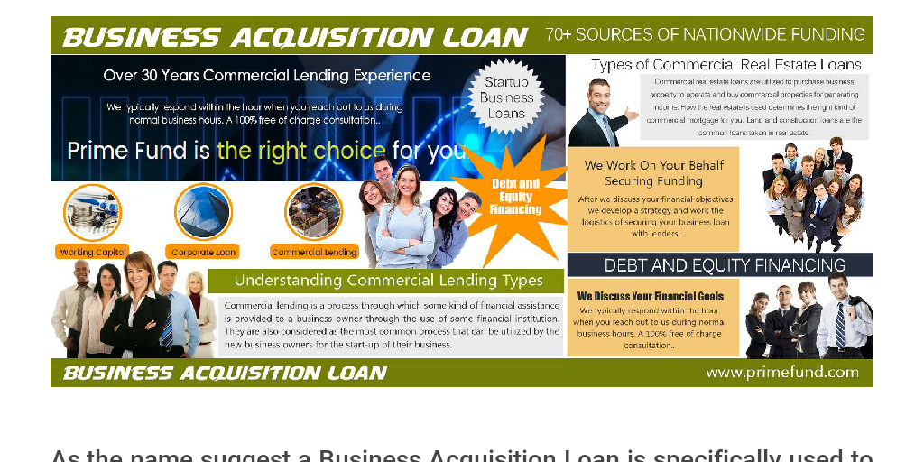 Business Acquisition Loan by commercial real estate loans