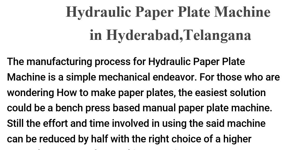 Hydraulic Paper Plate Machine in Hyderabad, Telangana by Kalyani ...