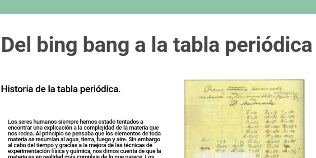 Del bing bang a la tabla peridica by lorena juarez infogram urtaz Images