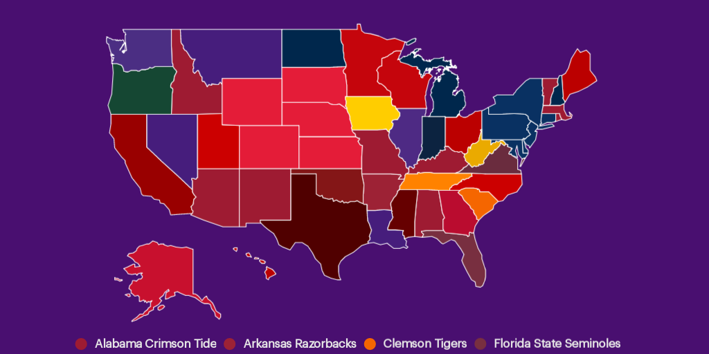 StubHub's Best-Selling NCAA College Football Team by State by
