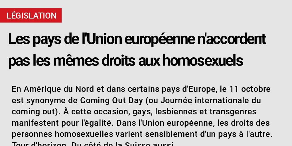 Les Pays De L Union Europeenne N Accordent Pas Les Memes Droits Aux