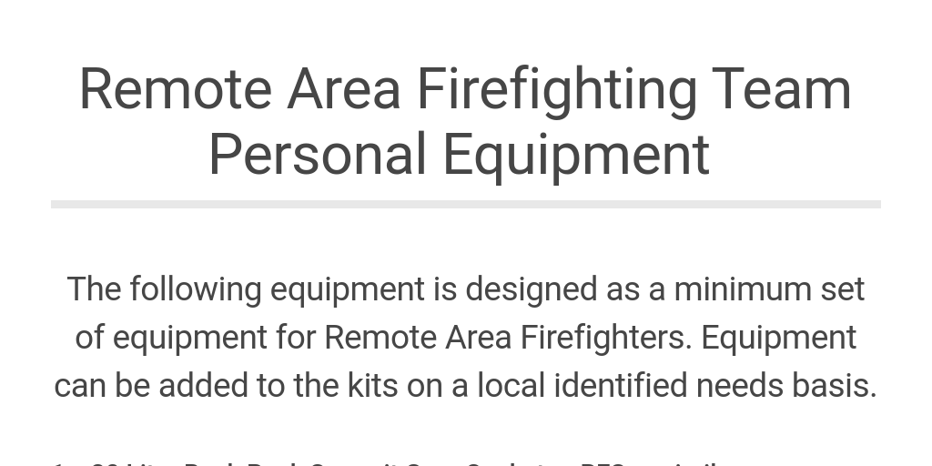 Remote Area Firefighting Team Personal Equipment List by Olivia