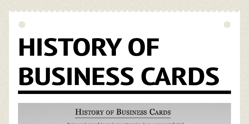 History of Business Cards by datacolouronlin - Infogram