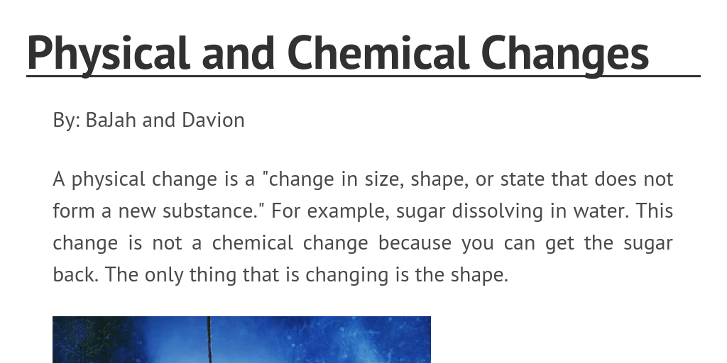 Physical And Chemical Changes By Dlemonbjackson Infogram
