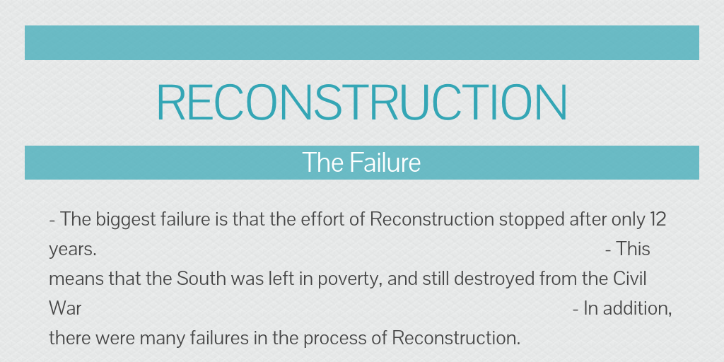 failure of reconstruction Test your knowledge of the successes and failures of reconstruction with this printable worksheet and interactive quiz the multiple-choice quiz.