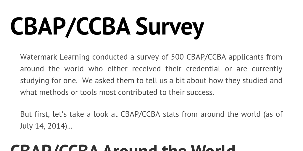 Cbapccba Survey By Watermark Learning Infogram